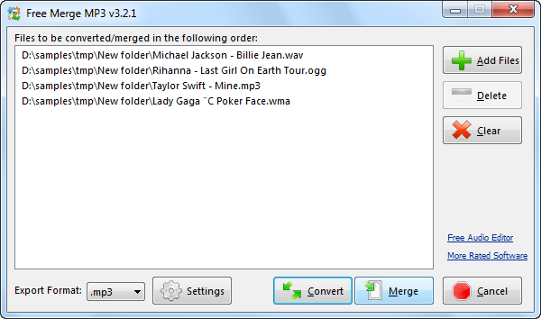 Click to view Free Merge MP3 3.3.6 screenshot